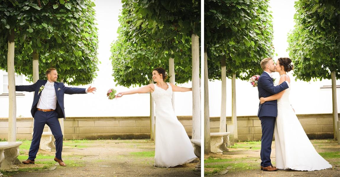 Brautpaarshooting im Schlosspark mit Baumallee