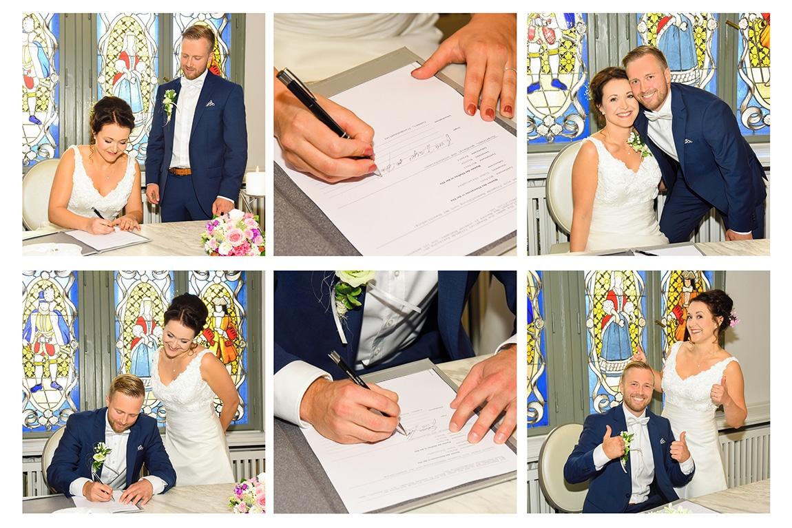 Unterschriften von Braut und Bräutigam im Standesamt Köpenick